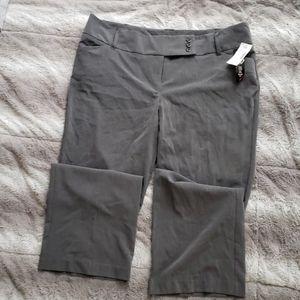 Gray slacks.